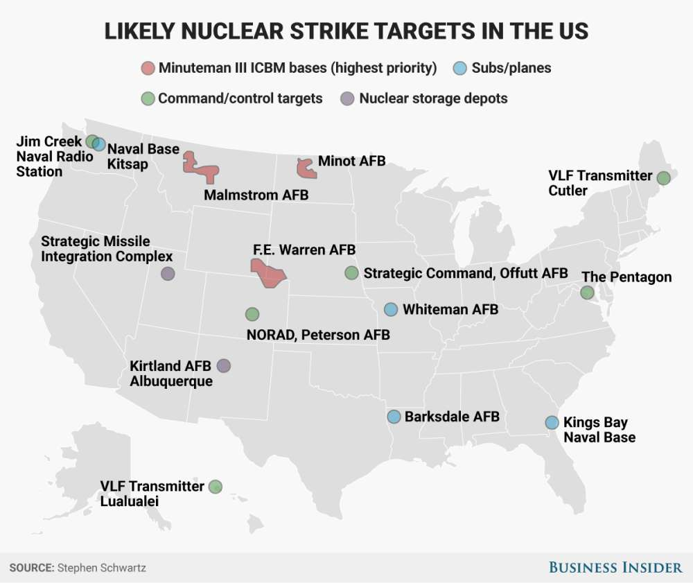 skye gouldbusiness insider this map represents targets for an all out attack on the uss fixed nuclear infrastructure weapons