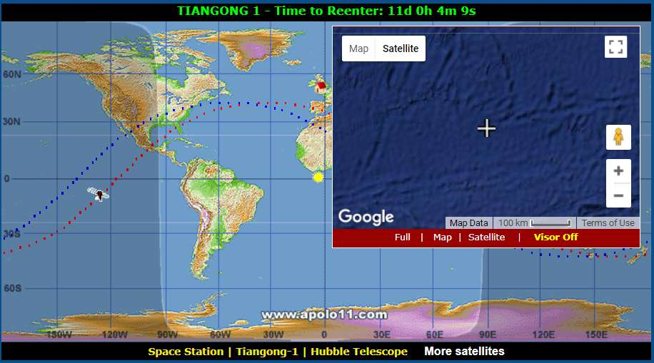 Real time map lets you track the out of control chinese space the space station does go over land regularly but spends the majority of its time above the oceans gumiabroncs Choice Image