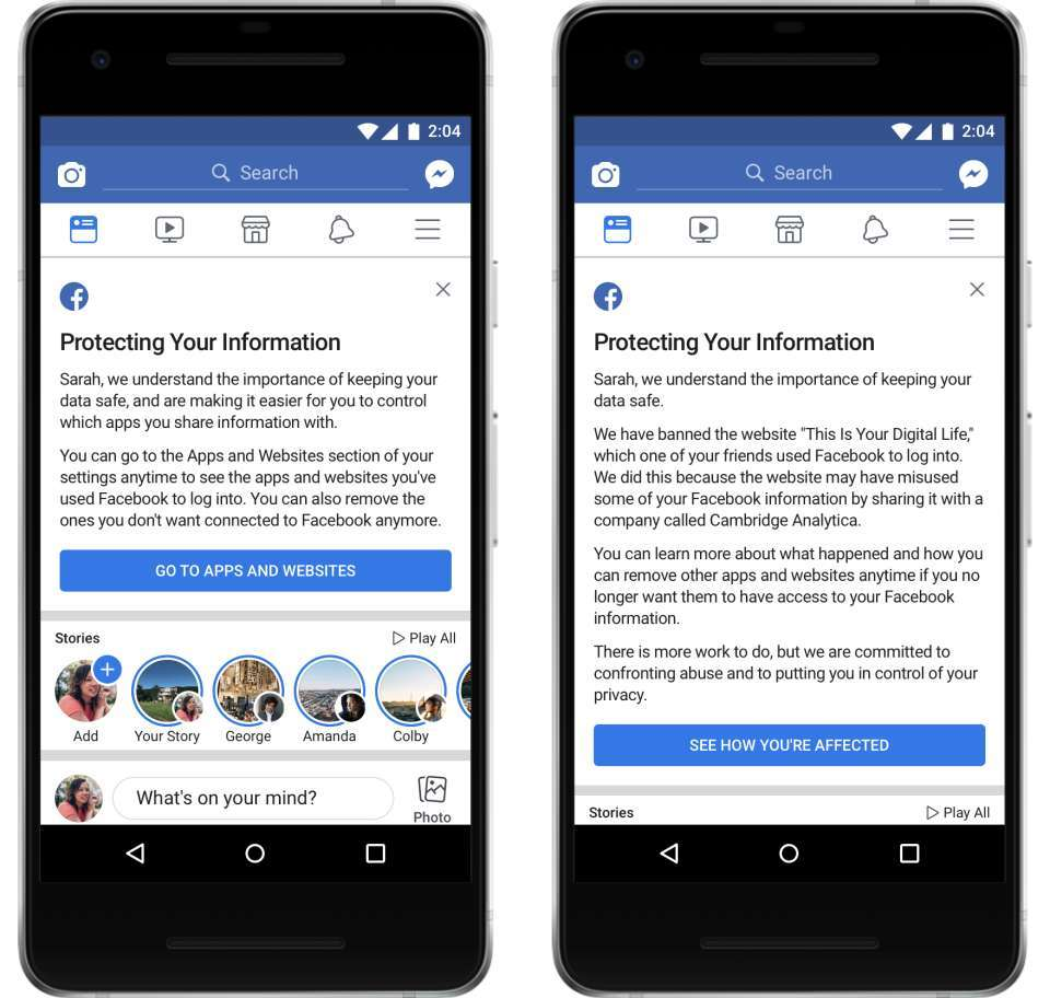 Facebook notifies those affected by data breach