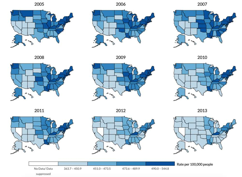 The CDC Mapped Out Where People With Cancer Live In The US - Cdc cancer deaths 2013 map of us