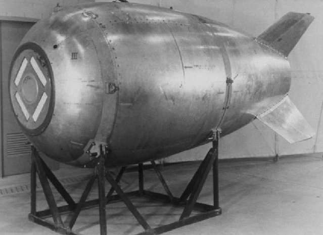 A Mark 4N aluminum bomb casing. US Government/Public Domain