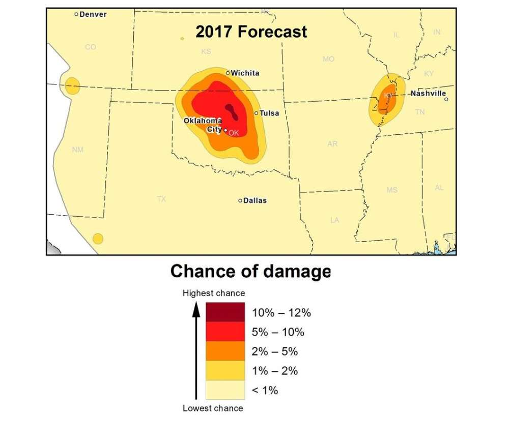 Oklahoma Is One Of 2017's Most High-Risk State For ... on earthquake hazard map of sierra nevada, risk map united states, mapof the united states, fracking and earthquake map united states, nuclear power plant map united states, earthquake hazard map california, earthquake hazard map british columbia, earthquake hazard map seattle, recent earthquake map of united states, earthquake hazard map usa, seismic map of united states, ancient earthquakes in united states, earthquake hazard map portland, most recent earthquakes united states, largest fault in united states, plate tectonics map united states, earthquake hazard map asia, earthquakes today in united states, earthquake hazard map alaska, earthquake hazard map europe,