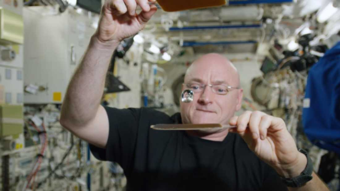 832 Scott Kelly Celebrates 300th Day In Space With Microgravity Water Ping Pong