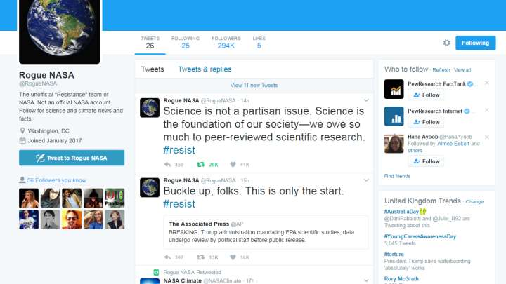 """Many More Scientific Twitter Pages Have Gone """"Rogue"""" In Defiance Of Trump Administration"""