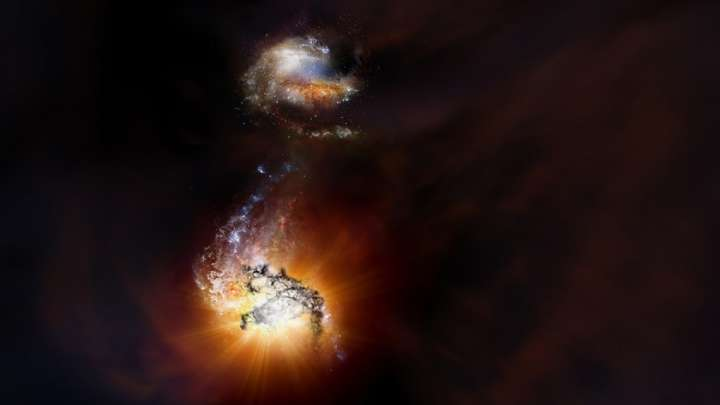 Astronomers Have Discovered A Pair Of Merging Galaxies From The Dawn Of Time