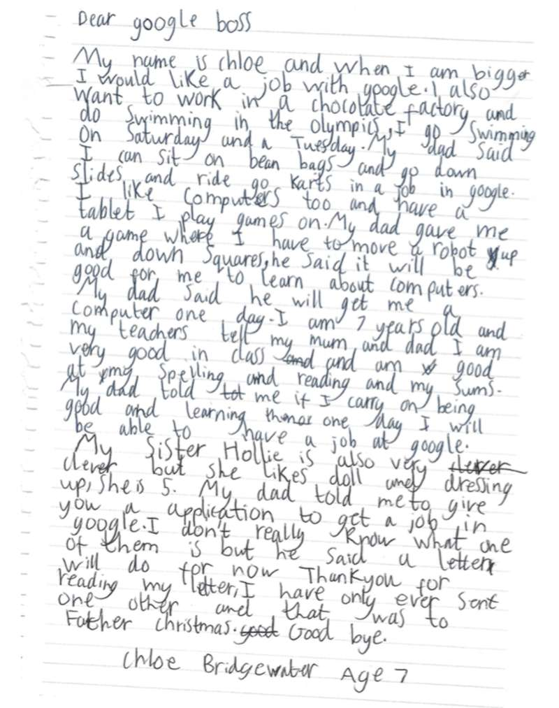 7 year old girl s awesome letter to google ceo elicits response then one day i will be able to have a job at google and that even though she didn t know what an applications was a letter would do for now