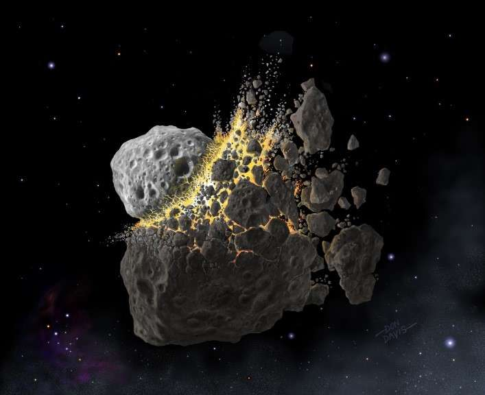 Artist's impression of the space collision 466 million years ago that produced many of today's meteorites. Don Davis/Southwest Research Institute