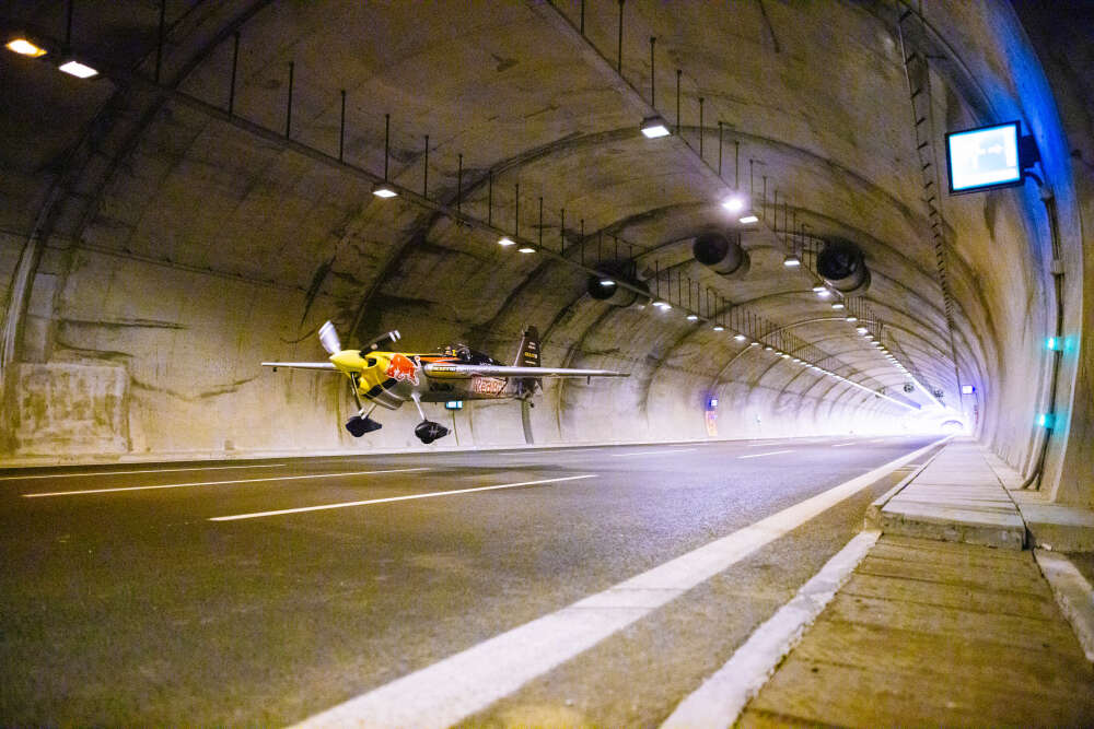 red bull airplane tunnel