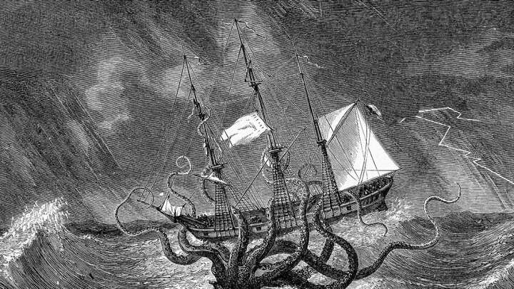 default 1617796126 a kraken lurking ominously to the side of a ship.