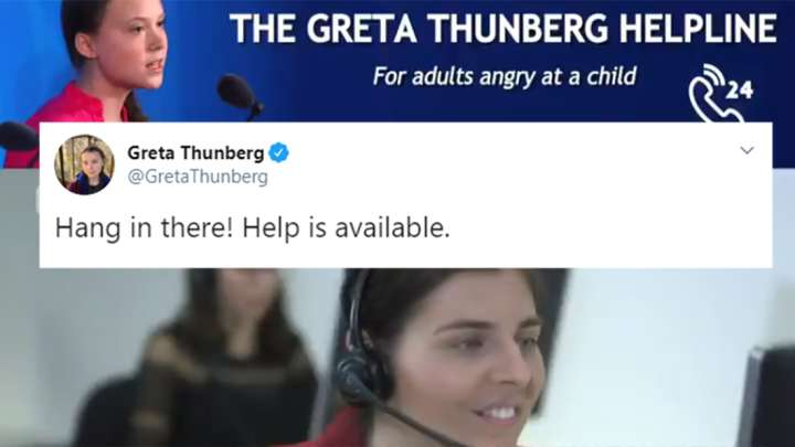 Image result for The Internet Is Loving The Greta Thunberg Helpline For Adults Angry At A Child