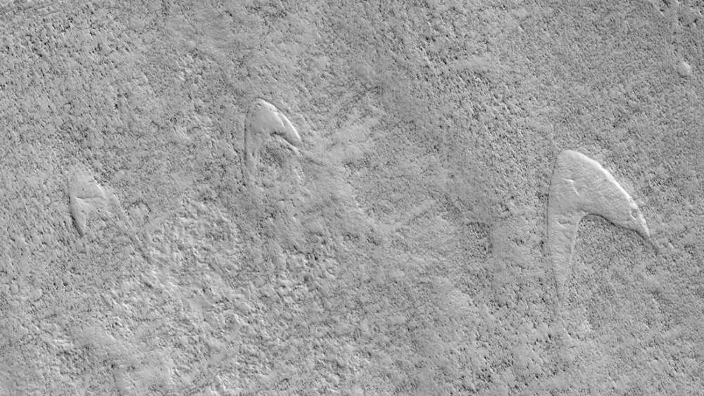 Star Trek Logo Spotted On The Bottom Of A Giant Crater On Mars